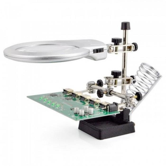 Masa üstü 2x 6x Çift Kullanımlı LED Işık Büyüteç w/Yardımcı Klip Lehimleme İstasyonu130mm
