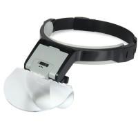 Çıft Lens takmalı 5 Lenslı , LED Lambalı Şapka tip Büyüteç