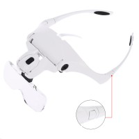 5 Lens 1.0X-3.5X, 2Led Işıklı  ile Ayarlanabilir Gözlük Büyüteç