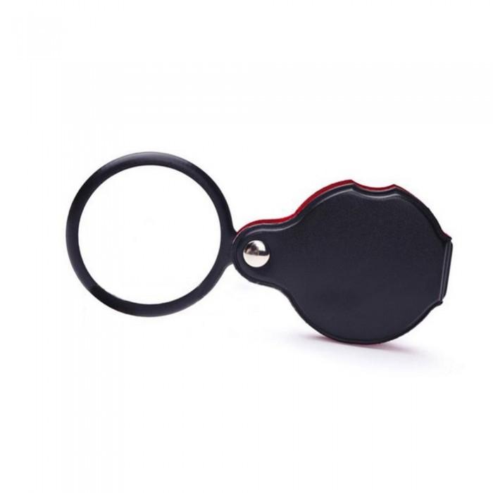 5X 60mm Cam optik lens,Katlabilir,Deri kaplamalı Cep Büyüteç-XX1051